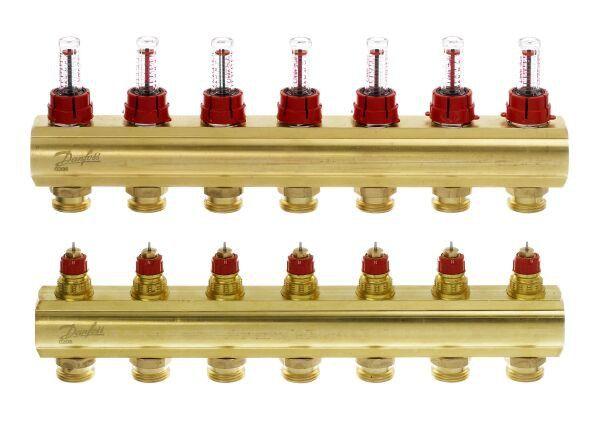 Коллектор Danfoss FHF 7+7 с ротаметрами