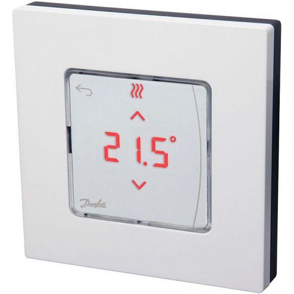 Терморегулятор Danfoss Icon Display, электронный, сенсорный, программируемый, 230V, On-wall, белый
