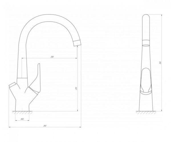 Смеситель кухонный Globus Lux LAZER GLLR-0222 CHROM комбинированный
