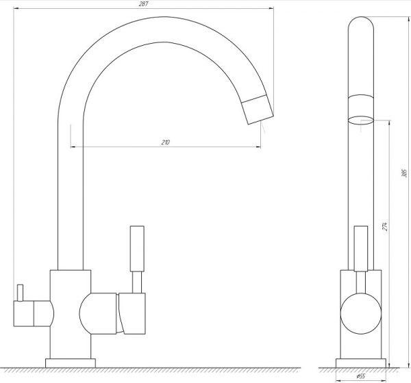 Смеситель кухонный Globus Lux LAZER GLLR-0333 CHROM ХРОМ комбинированный