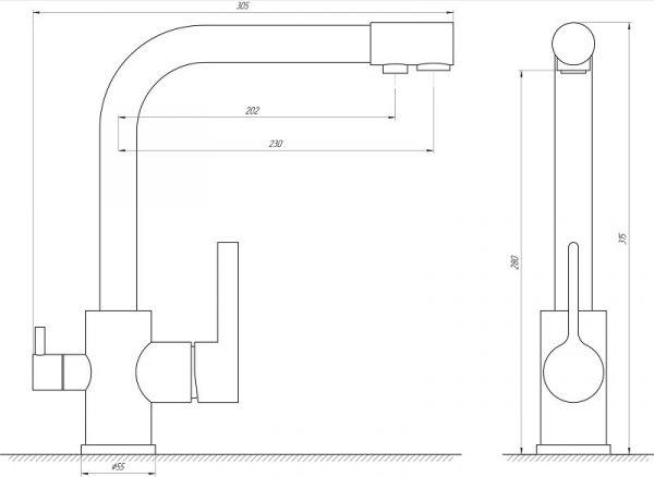 Смеситель кухонный Globus Lux LAZER GLLR-0444 CHROM комбинированный