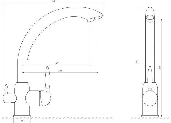 Смеситель кухонный Globus Lux LAZER GLLR-0777 комбинированный на гайке