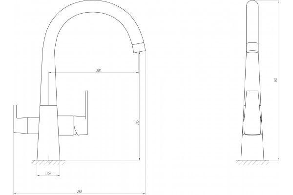 Смеситель кухонный Globus Lux LAZER GLLR-0999 CHROM комбинированный на гайке