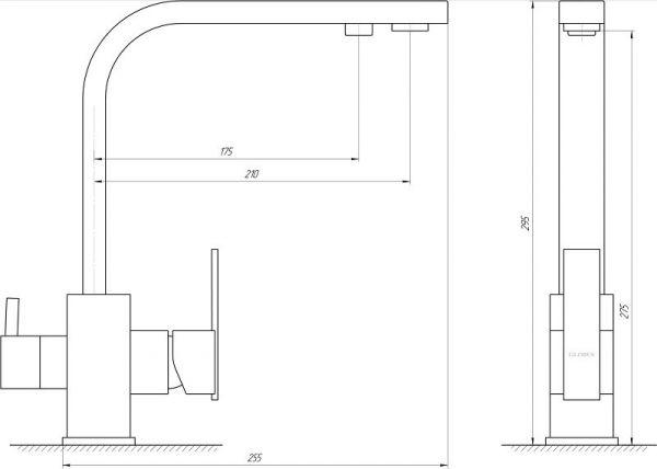 Смеситель кухонный Globus Lux LAZER GLLR-0111 ONIX Черный комбинированный