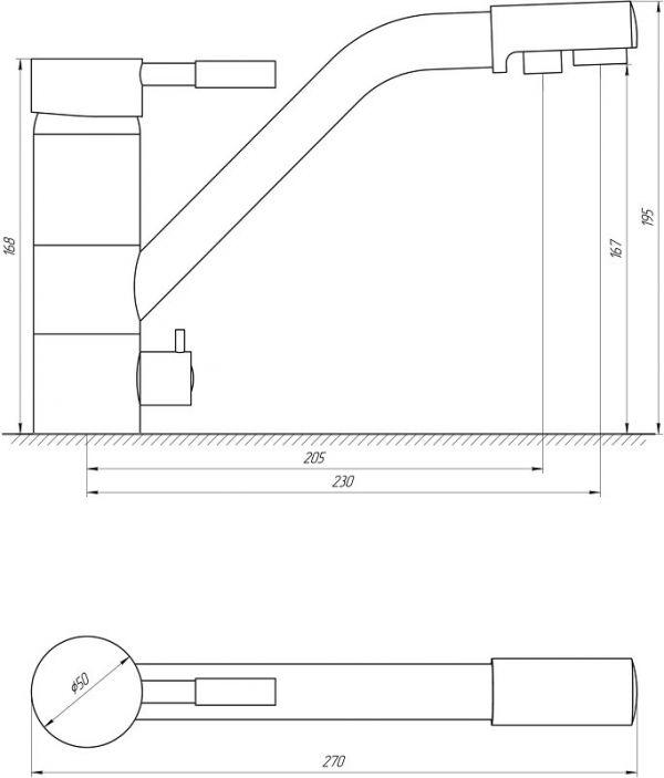Смеситель кухонный Globus Lux LAZER GLLR-0555 BLACK ЧЕРНЫЙ комбинированный