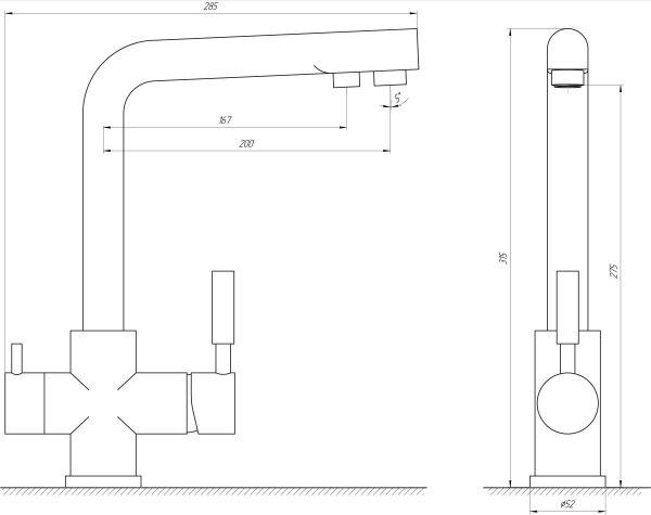 Смеситель кухонный Globus Lux LAZER GLLR-0888 ONIX ЧЕРНЫЙ комбинированный
