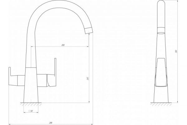 Смеситель кухонный Globus Lux LAZER GLLR-0999 ONIX ЧЕРНЫЙ комбинированный